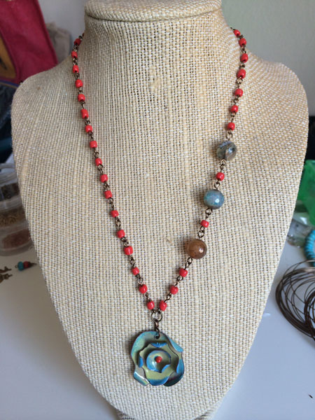 necklace with Jade Scott enameled flower pendant