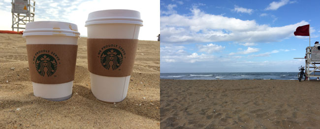 Coffee on the beach is the best // Glorpy water = empty beach!