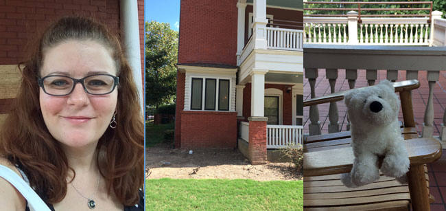 Me | The apartment where Margaret Mitchell wrote 90% of Gone with the Wind | Ollie Bear on MM's porch.