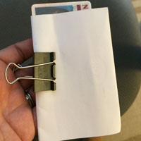 My sad wallet setup. Paper and a binder clip.